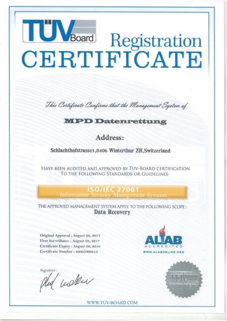 ISO 27001 Zertifikate
