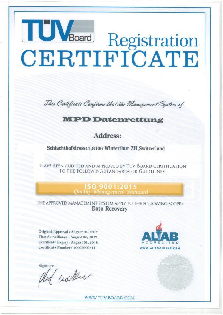 MPD Datenrettung ISO 9001